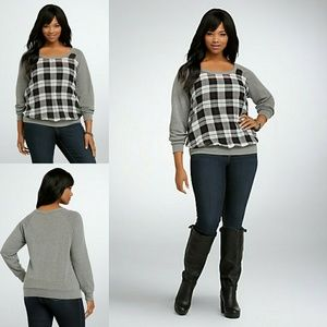 Torrid Plaid Chiffon Sweatshirt